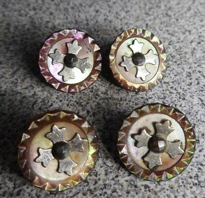 "4 Gorgeous Antique 1/2"" Abalone Shell Silver Cross Steel Cut Buttons"
