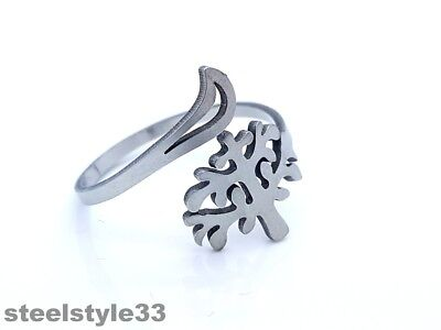 Women's Ring Band Stainless Steel 316L  Adjustable Tree Design Silver Tone