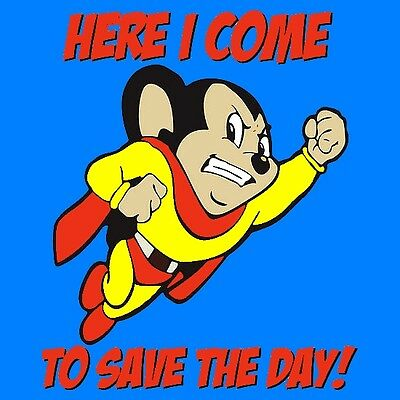 Mighty Mouse Superhero, Here I Come To Save The Day Cartoon Sticker or Magnet
