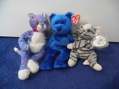 New Tagged Collection of TY Beanies Kooky United Prance 2 Cats 1 Bear