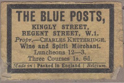 OLD MATCHBOX LABELS MA No.161- The Blue Posts, Belgium export to UK