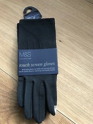 Black M&S Touch Screen Gloves New With Tags Black With Gold Index Finger And Thu