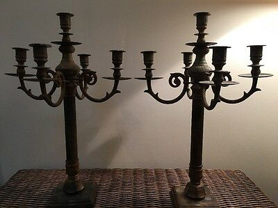 Antique Pair Brass Ornate Five Arm Candelabras From India 13 Lbs each