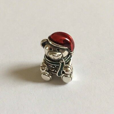 New Genuine Pandora Christmas Teddy Bear Charm S925 Ale 791391Enmx