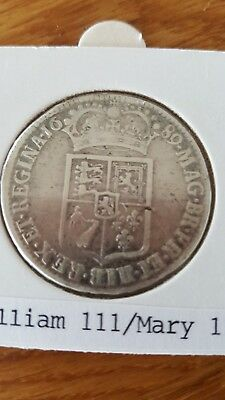Rare 1689 Halfcrown, First V Over A In Gvlielmvs, Silver Coin William & Mary Ii