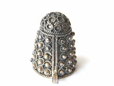 Antique Etruscan Filigree Silver Sewing Thimble w/ Chain Hoop Collectible Sewing