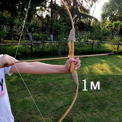 Wooden Bow w 3 Arrows and A Quiver Adult youth Kids Archery Hunting Sporting Toy