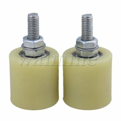 2 x Flat 40mm Dia 44mm Heigh PP Guiding Wheel with 6000ZZ Bearing Insert