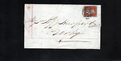 GB Entire. QV. 1d Red imp. Oxford to Derby 1847(Castle St.)