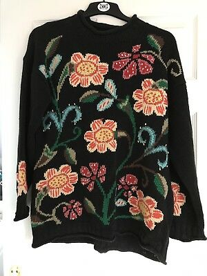 Vintage Jumper With Flower Pattern Stitched Detail