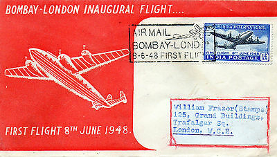 First Flight Cover. Airmail Bombay-London 1948, 8th June