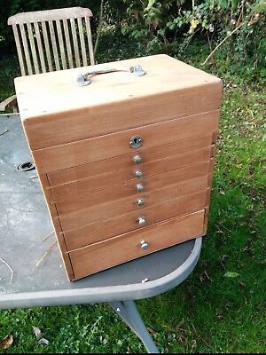 Small  Vintage Dental/medicine Cabinet With 6 Drawers