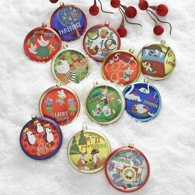 "RAZ Imports 4"" 12 Days of Christmas Glass Disc Ornaments Set/12 Twelve NEW!"