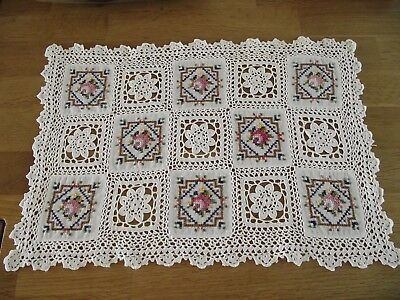 Vintage Cotton Crochet Embroidered Tray Cloth Table Topper