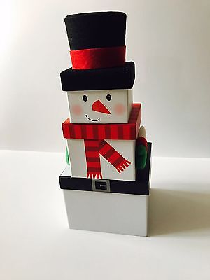 Snowman - Set of 3 Stacking Christmas Gift Present Boxes with Wooly Hat Xmas