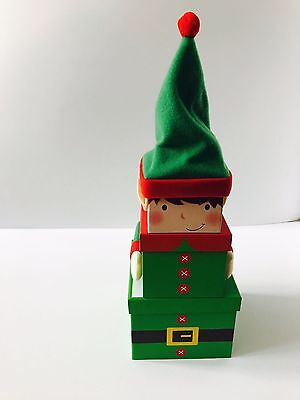 Elf - Set of 3 Stacking Christmas Gift Present Boxes with Wooly Hat Xmas