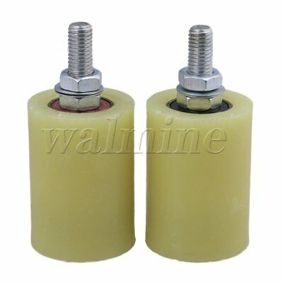 2 x Flat 50mm Dia 70mm Heigh PP Guiding Wheel with 6201ZZ Bearing Insert