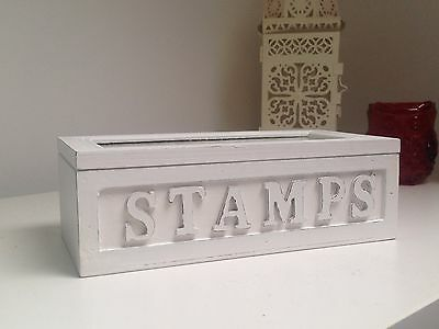 Shabby chic-style White Wooden Stamp Box