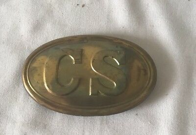 "3"" Brass Reproduction CS Civil War Infantry Soldier Belt Buckle"