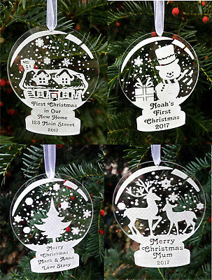 Personalised acrylic bauble snow globe first Christmas tree ornament decoration