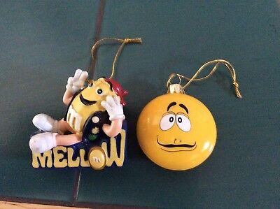 m&m 2 ornaments mellow yellow guy & funny face yellow