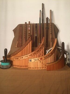 Collection Of World Musical Instruments, Panpipes, Flute, Recorders, Percussion