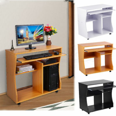 Wooden Computer Desk Trolley Keyboard Storage Shelves Home Office Small PC Table