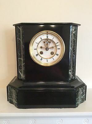 French Slate and Marble Mantel Clock with a visible escapement c1880