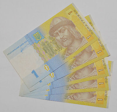 5x Consecutive UKRAINE 1 HRYVNIA. UAH PAPER MONEY BANKNOTE CURRENCY SET of 5
