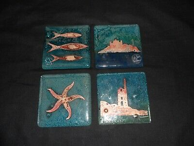GENUINE ORIGINAL JO DOWNS SET OF 4 x BESPOKE FUSED GLASS COASTERS CORNWALL BOXED