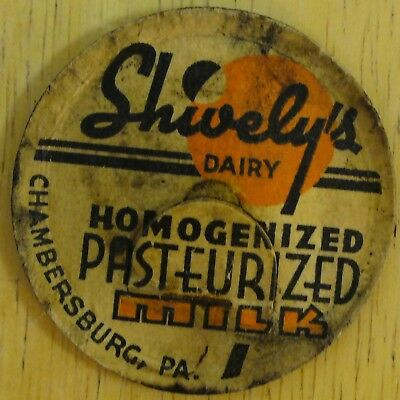 Shively's Dairy Milk Bottle Cap Chambersburg PA