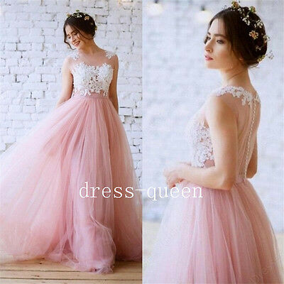Beautiful Blusher Pink Tulle Wedding Dress Illusion Lace Buttons Bridal Gown New