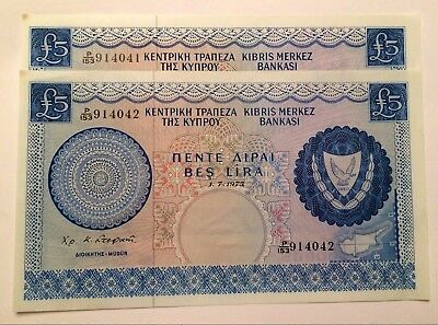Central Bank of Cyprus 5 Pound Banknotes 1.7.1975 2 X Consecutive Numbers