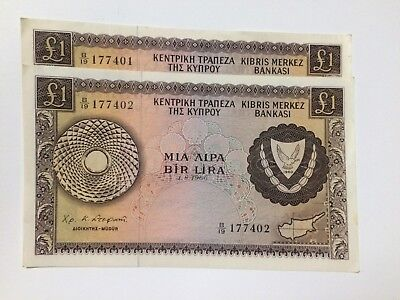 Cyprus 1 Pound 1.8.1966 Banknote 2 X Consecutive Numbers Rae High Grade Notes