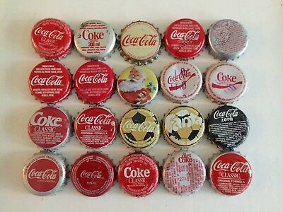 20 Different Coca Cola Soda Bottle caps ~ Nice Lot ~ 1 Coke Cork Crown
