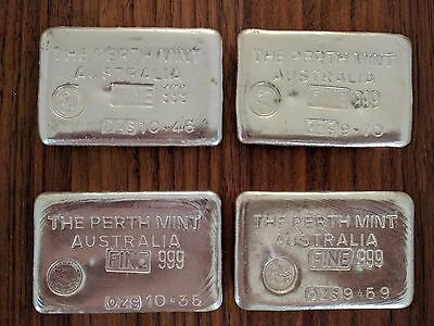 Perth Mint Vintage 10oz TypeB Silver Bullion Old Swan Logo consecutive serial #