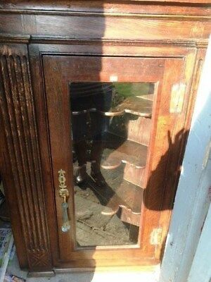Oak Glass Fronted Apothecary Corner Cabinet