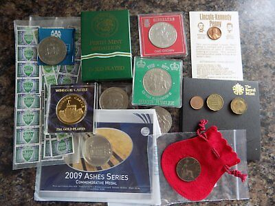 Bundle of coins and Commemorative Medallions