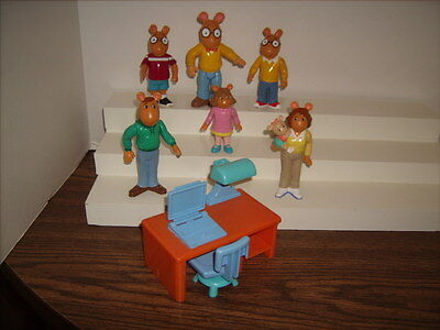 Arthur And Family PVC Marc Brown Figures and Desk with Chair Great Shape