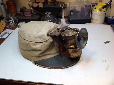 Vintage Coal Miners Soft Hat With Carbide Lantern Lamp