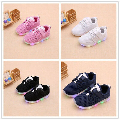 Children LED Shoes Light Up Luminous Trainers Boys Girls Net Kids Sport Sneakers