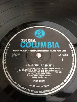 Pink Floyd A Saucerful Of Secrets RARE Mono Blue/Black Colombia SX 6258.