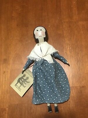 Shadowdancer Wooden Doll in Brown Calico by E. Young New York 1980s Peg Type