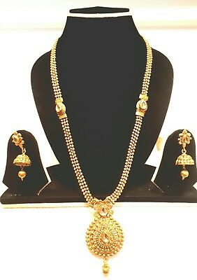 New Necklace Set Polki Gold Plated Designer Indian Costume Jewellery Wedding