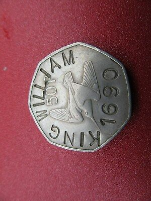 1970 irish 50 pence KING WILLIAM 1690 counter stamped