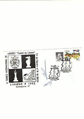 """Lovely Chess Tournament cover FDC """"Linares"""" signed by Karpov and a n other"""