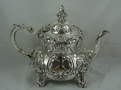MAGNIFICENT, VICTORIAN silver TEA POT, 1858, 750gm
