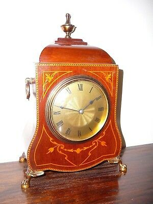 Pretty Edwardian inlaid mahognay bracket clock