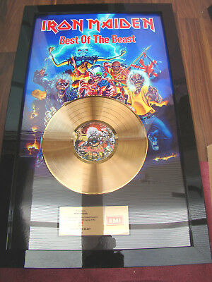 """Presented to IRON MAIDEN  EMI """"BEST OF THE BEAST""""  Gold  Award"""