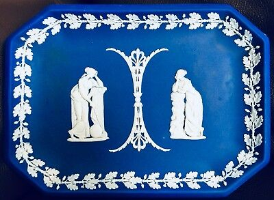 "Antique Georgian (circa 1800s) Wedgwood Cobalt Blue Jasperware 10""/26cm Tray"